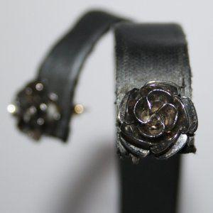 Vintage silver rose post earrings